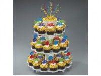Présentoir en forme de fleur à 3 étages en polystyrène pour cupcakes, tartelettes, pâtisseries. Peut contenir de 32 à 48 cupcakes et peut être démonté pour rangement.