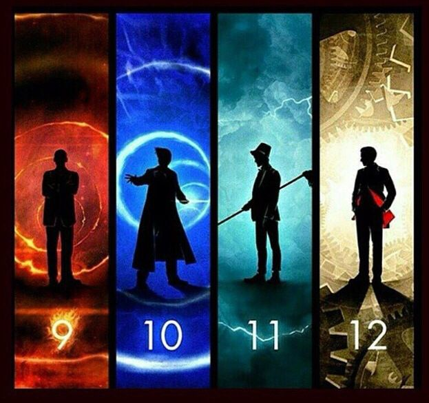 9 is passion and rage, 10 is sorrow and loss, 11 is power and isolation and 12 is cold and ever changing from Doctor Who