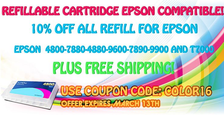 Get 10% off all refills for Epson plus free shipping!