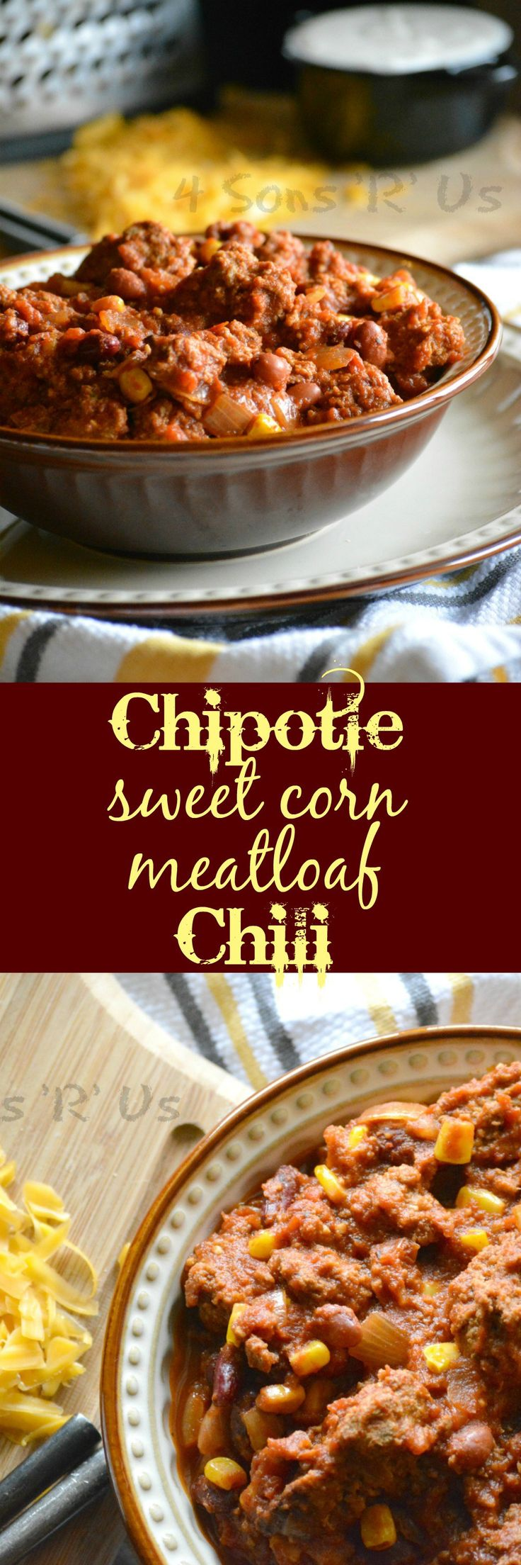 This recipe takes something as simple as leftovers and upgrades them into something simple, yet indulgent for dinner or even something hearty enough for a crowd on Game Day. Sweet corn, smoky chipotle seasoning, and chunks of your favorite leftover meatloaf combine with traditional ingredients for a chili that will really 'bowl' you over.