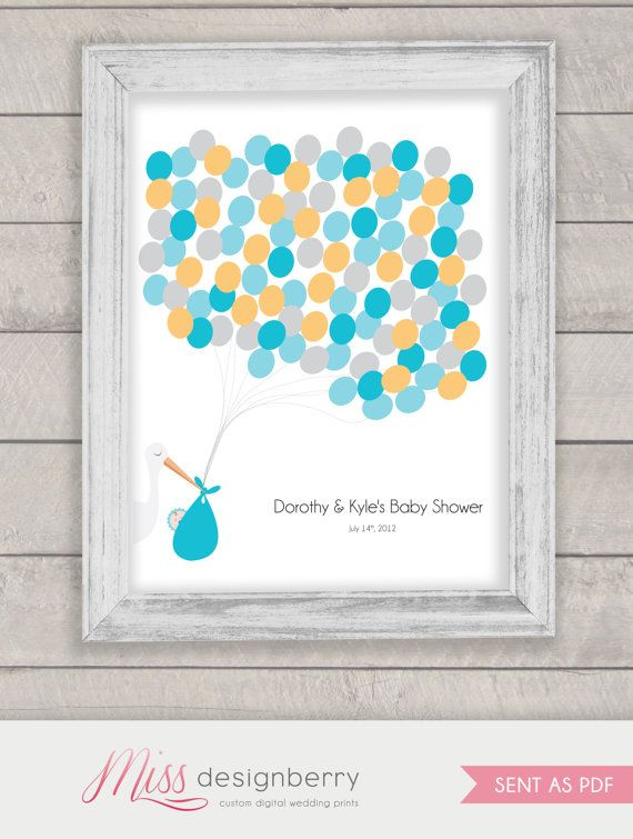 baby shower balloon guest book alternative custom print boy or gi