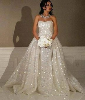 Saprkly Strapless Mermaid Wedding Dresses Bridal Gown from dressydances