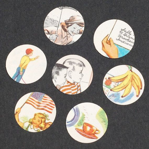 sweet punched circles from 1940s school book. tanithoddsandends.etsy.com