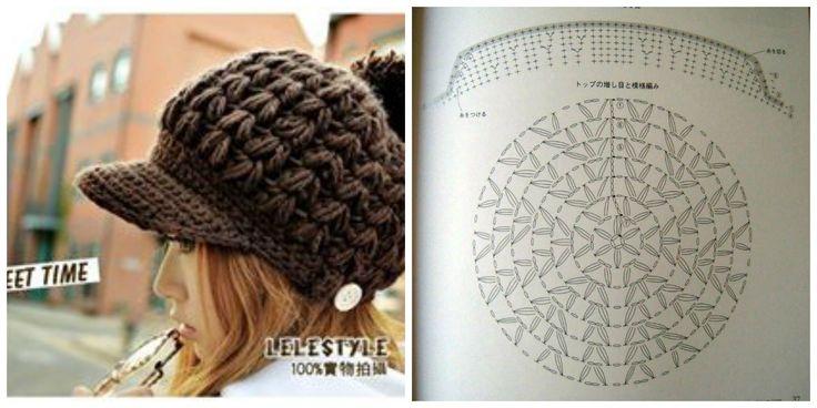 #Crochet hat pattern - Visera de #ganchillo patrón