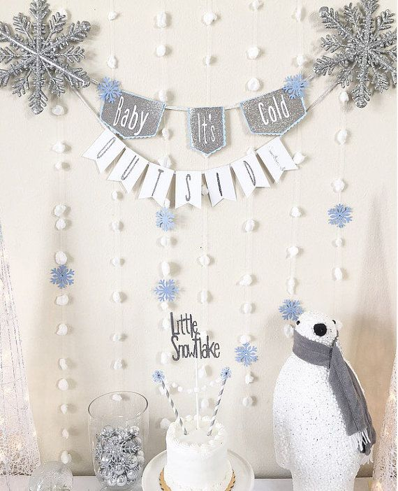 Baby its cold outside banner, winter baby shower, winter onederland  baby shower decoration, boy baby shower decoration, fall baby shower #babyshower #winter