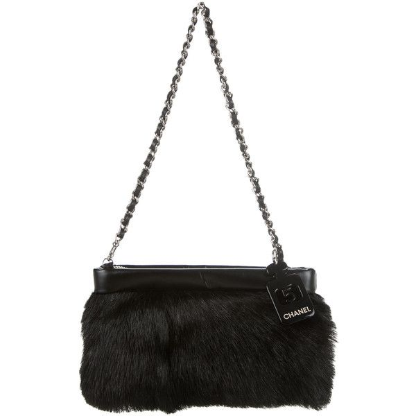 Pre-owned Chanel Mink Pochette ($1,000) ❤ liked on Polyvore featuring bags, handbags, clutches, black, chain handle handbags, black woven handbag, mink purse, chanel pochette y woven handbag
