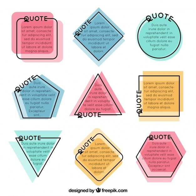 Set of polygonal shape frames for quotes Free Vector