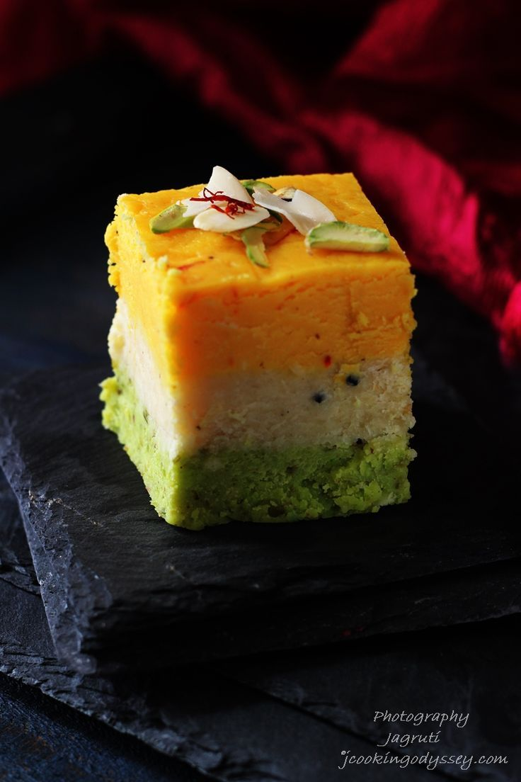 Thick, creamy and delicate, barfis are made from full fat milk powder, these delectable fudge-like Barfis made with pistachio, almond, and saffron. The texture, the taste and the aroma have to be experienced to be believed.