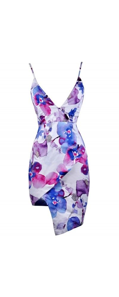 Lily Boutique Shades Of Purple Watercolor Floral Print Asymmetrical Hemline Dress