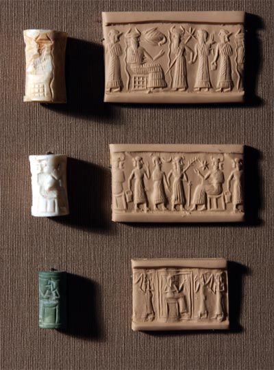 CYLINDER SEALS - Used as a means of stamping and identifying documents... Simply roll the seal out on clay and get the image!  These seals are just a couple of inches long.  Ancient Near East