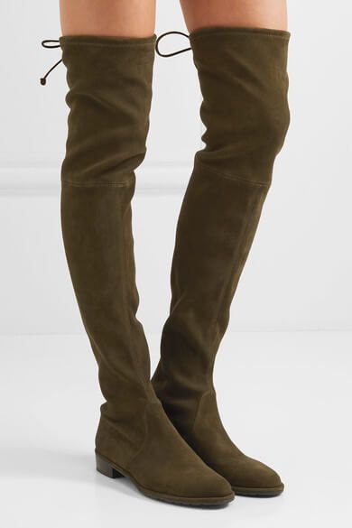 f49b21f2c40 Stuart Weitzman Lowland Stretch-Suede Over-The-Knee Boots Dark Olive at  NET-A-PORTER