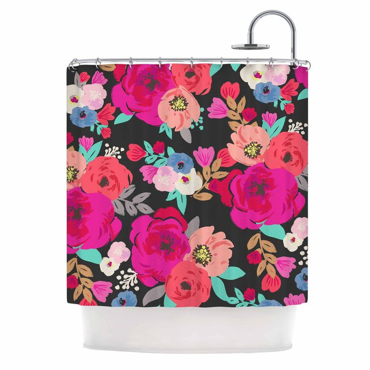 "Crystal Walen ""Sweet Pea"" - Black Floral Shower Curtain"