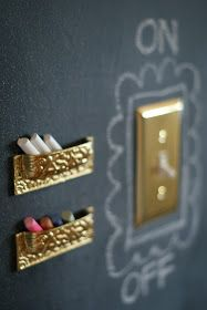 Kitchen Chalkboard Wall. Use drawer pulls (upside down) to hold chalk. Why can't I ever think of these things!