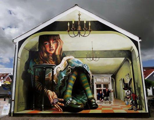Anamorphic 3D Street Art by Vera Bugatti in Brande, Denmark.