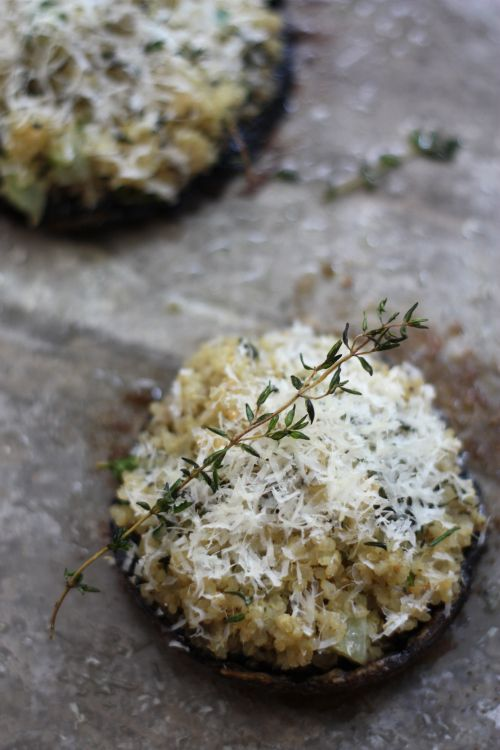 Parmesan & Herbed Quinoa Stuffed Portobello Mushrooms