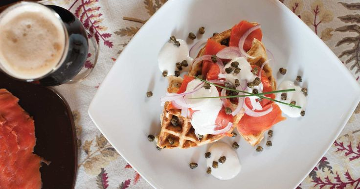 Brown ale adds flavor and a light airiness to this smoked-salmon-and-waffles appetizer.
