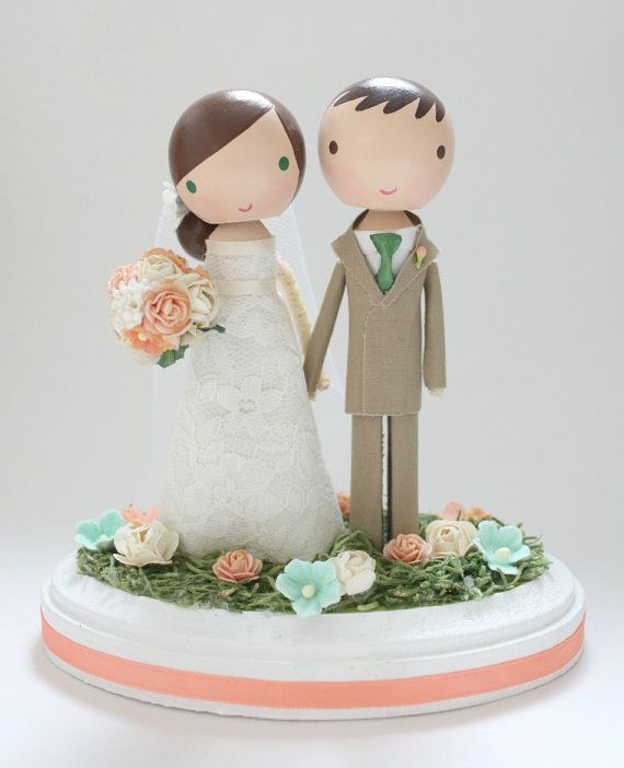 custom wedding cake topper with arch by lollipopworkshop on Etsy