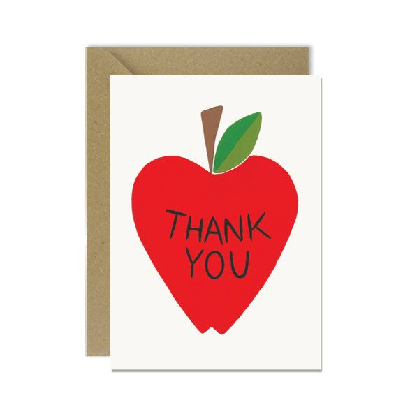 Apple Thank You Card by amylindroos.com on Etsy