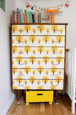Wallpapered drawers. I feel like they'd have to me perfectly aligned.