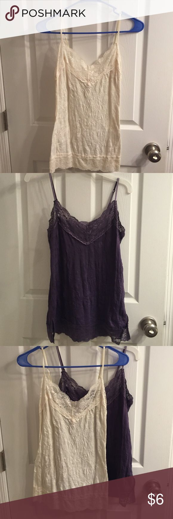 Bundle of women's camisoles. 2 lace women's camisoles. Off white and plum. These are the tops that are supposed to look wrinkled. Look great under sweaters or Blazers! Xhilaration Tops Camisoles