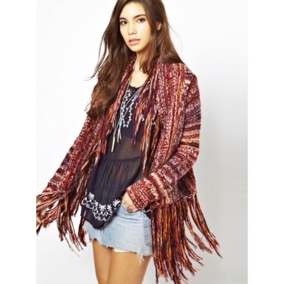 SOLD locally! HPx7! Free People boho cardigan Host Pick, 11/4, Texture Takeover and 11/9, Seriously Stylish, 11/12, Cozy and Chic, 11/28, Best of Black Friday, 1/3, Throwback Style, 1/7, Boho Babe! Beautiful vibrant colors make this cardigan extra special! Fringed edges give a boho appeal. I think it would look amazingly hot with black leather pants or skirt, or you could easily pair with light or white denim or black pants! Fabric content:66%acrylic, 25% wool, 6% alpaca, 3% other fibers…