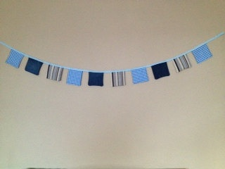 Bunting 10 x 5 squares 2mtrs long blue demin by TheCraftyShamrock, €12.00