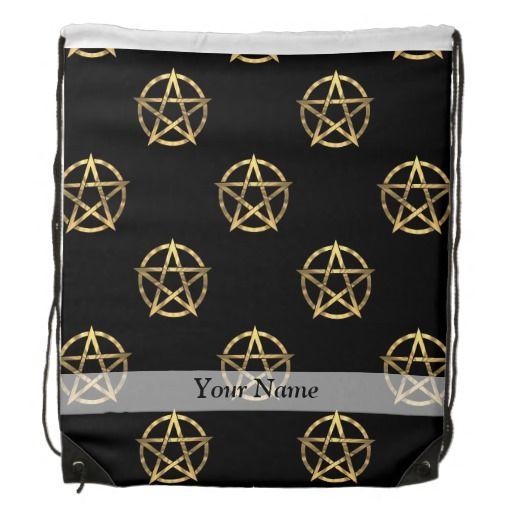 Svart och guld- pentagram ryggsäck