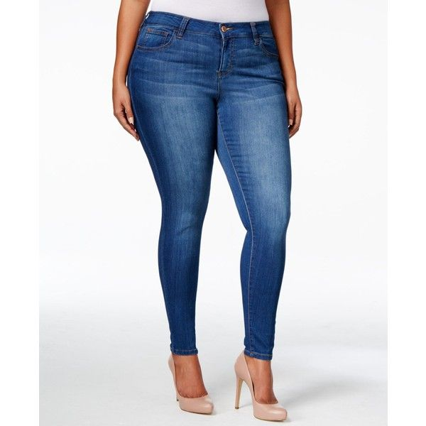 Celebrity Pink Petite Plus Size Infinite Stretch Dawson Super-Skinny... ($59) ❤ liked on Polyvore featuring jeans, kings of leon medium, plus size stretch jeans, super stretch skinny jeans, petite skinny jeans, women's plus size jeans and plus size white jeans