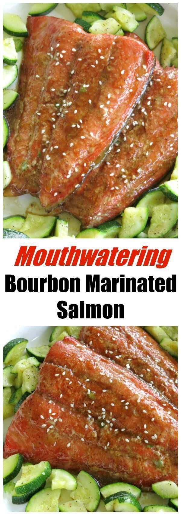 Easy Bourbon Marinated Salmon Recipe. The bourbon glaze is great on chicken and pork too. It's sweet with just the right amount of zing for a memorable dinner.
