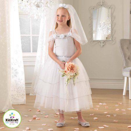 KidKraft White Rose Bride Dress Up Costume Dress Up Costume, Toddler Girl's, Size: XS