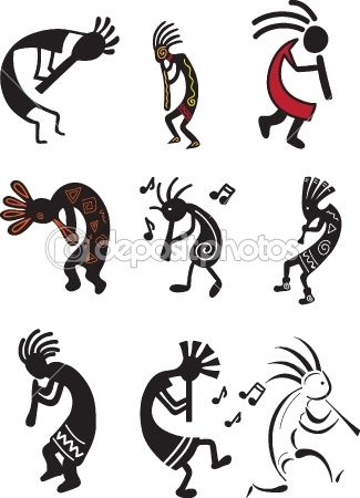 kokopelli's. Fertility symbols, tricksters, and healers.The fact that few realize that this is a fertility image and the figure quite often posess a huge penis is hilarious to me. Please continue to tattoo yourselves with it.