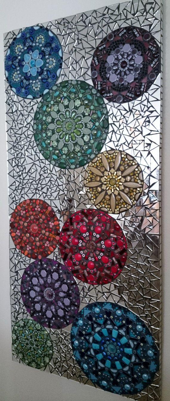 "Kaleidoscope Mosaic | Nichole Aubrey Mosaics Using the direct method with an MDF substrate, tesserae materials include: Jasper, Lapis lazuli, Carnelian, Italian Murano Millefiori, Ceramic tile, Beads, Mirror, Glass rods and gems Measurements: 45"" Tall x 21"" Wide 32 lbs"