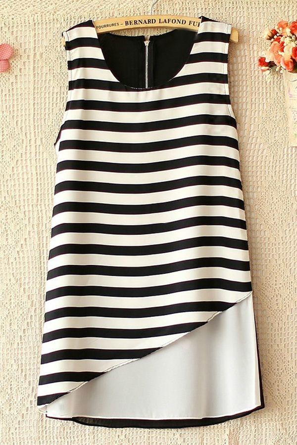 Stripe Sleeveless Chiffon Shirt