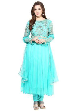 #Aqua Blue Anarkali #Suit