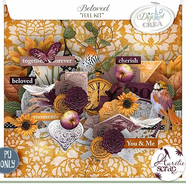 """Kit """"Beloved"""" by Aurélie Scrap. Such warm colors are in this automnal kit. Beloved - digital scrapbooking kit by Aurelie Scrap. The shiny kit is full of sunny colors and is perfect to document everyday moments of your shining & autumnal moments."""