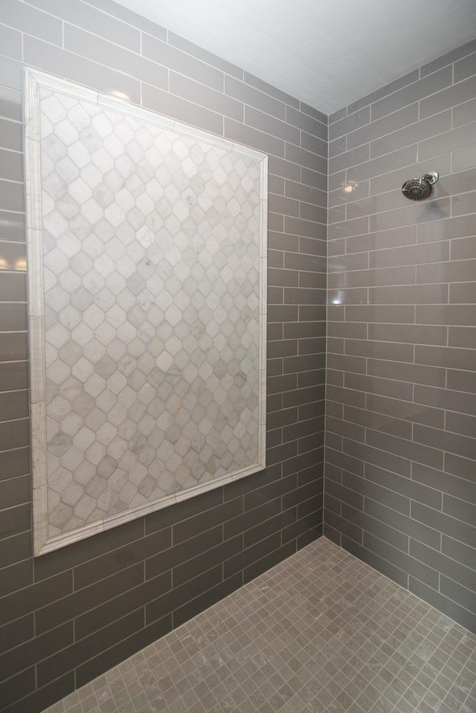 Gray Tiled Shower With Light Gray Tile Accent And Shower Floor In 2020 Gray Shower Tile Shower Floor Shower Tile