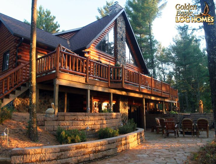 10 best images about log home cabin exteriors on for Log cabin floor plans with walkout basement