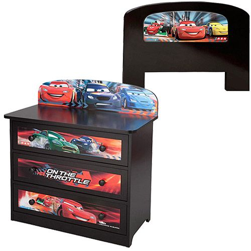 Disney Pixar Cars Twin Headboard With 3 Drawer Dresser