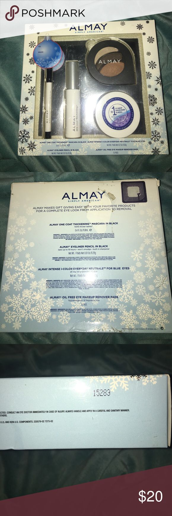 Almay Cosmetics Set NWT, Almay cosmetics set. Includes mascara, Eyeshadow trio, makeup remover pads, and an eyeliner in black! Authentic, brand new. Back of the box is a little damaged as shown in picture. The makeup remover pads come in a pack of 15. Almay Makeup