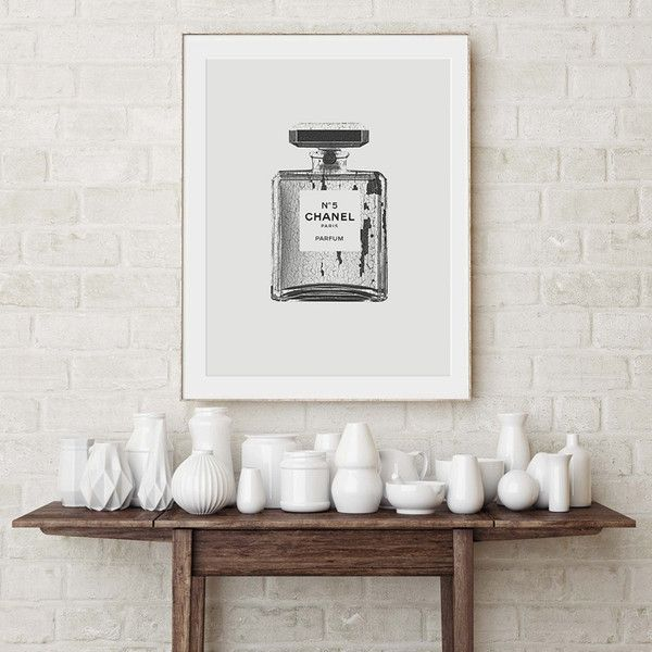 Chanel Perfume Bottle Print. Monochrome Chanel Poster. Chic Poster. (77 ILS) ❤ liked on Polyvore featuring home, home decor, wall art, grey wall art, chanel, grey home decor and gray home decor