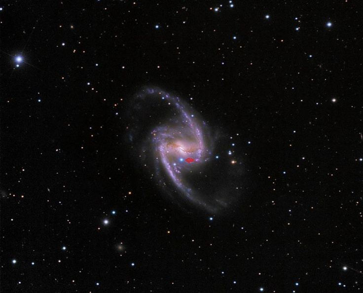 A very bright supernova has been discovered in the Great Barred Spiral Galaxy, NGC 1365, and is now visible for those in the southern hemisphere. This beautiful galaxy lies about 56 million light-years away in the constellation Fornax. The type Ia supernova was discovered by Alain Klotz using the TAROT telescope at the La Silla Observatory in Chile on October 27, 2012. ( An intense, blue supernova.) Dubbed Supernova 2012fr, it is the bright and intensely blue star directly below the galaxy core.