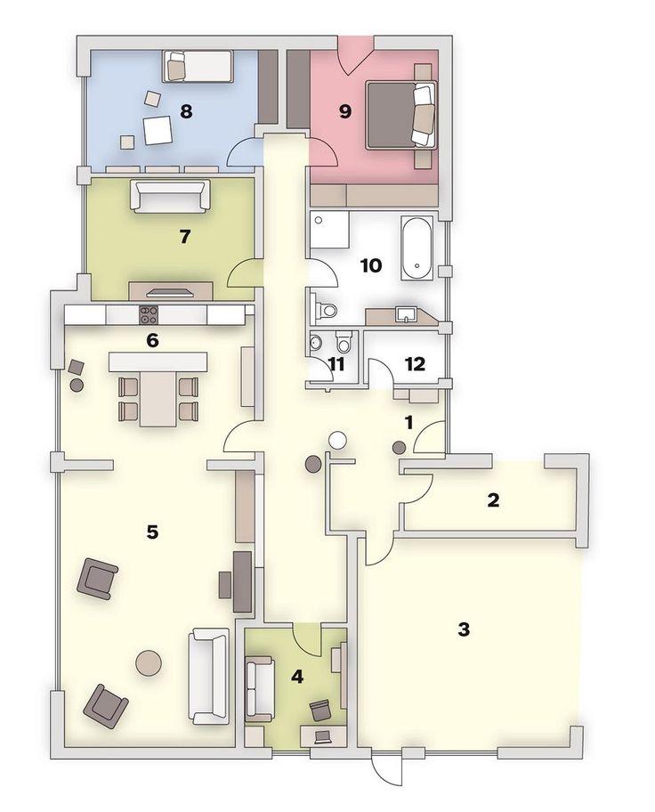 Půdorys: 1. předsíň , 2. technická místnost , 3. garáž , 4. pracovna , 5. obývací pokoj, 6. kuchyň , 7. pokoj, 8. dětský pokoj, 9. ložnice , 10. koupelna s WC, 11. WC, 12. domácí práce