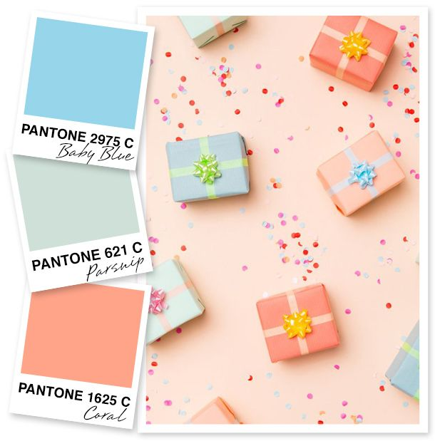 These pretty packages make for a lovely pastel color palette! Their shades are perfect for spring.