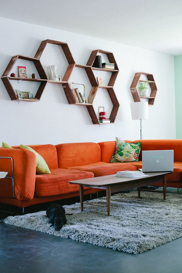 Unique DIY Shelving Design in Home: Fantastic Wood Honeycomb DIY Shelving Orange Sofa Living Room