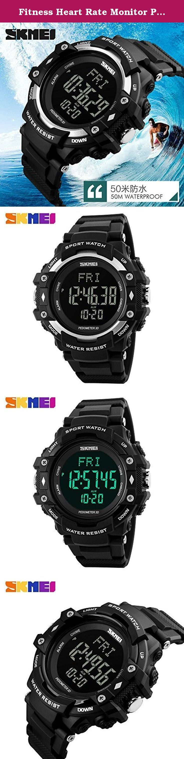 Fitness Heart Rate Monitor Pedometer Watch For Men Women Sport Watches Digita. Fitness Heart Rate Monitor Pedometer Watch For Men Women Sport Watches Digital Electronic Wrist watches Clock Feature: Strap: PU Silicone Strap Case: PC Silicone Case Waterproof: 50 Meters Function: Stop watch, Luminous, Pedometer, Measuring Heart Rate, Countdown, Timer Alarm Clock, The Date, Day of The Week, Open Lock. Color:Black,Silver. .