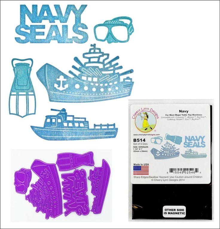 Military die set - NAVY SEALS dies Cheery Lynn Designs B514 ships,words,mask,fin #CheeryLynnDesigns