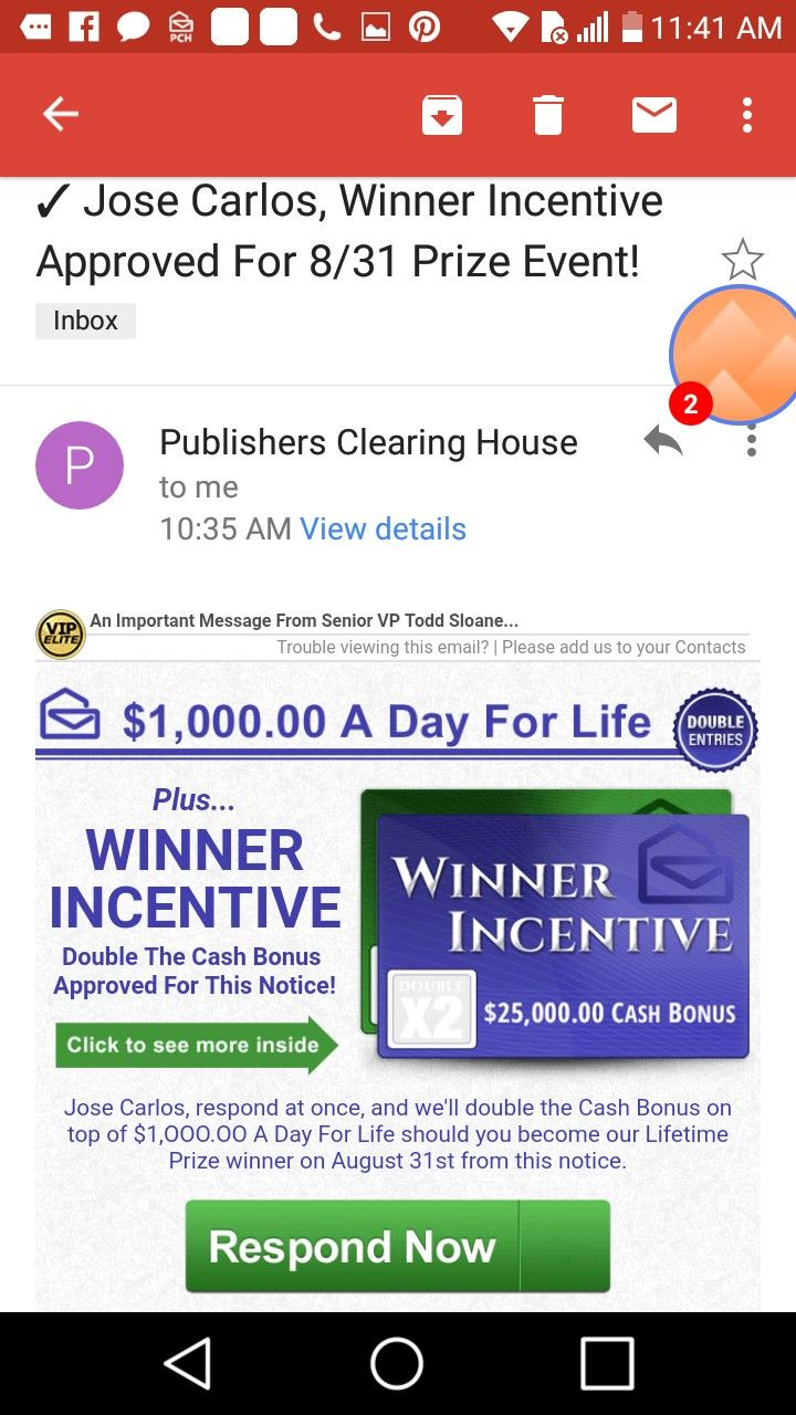 I jcg claim & confirm Publishers clearing house winner Incentive