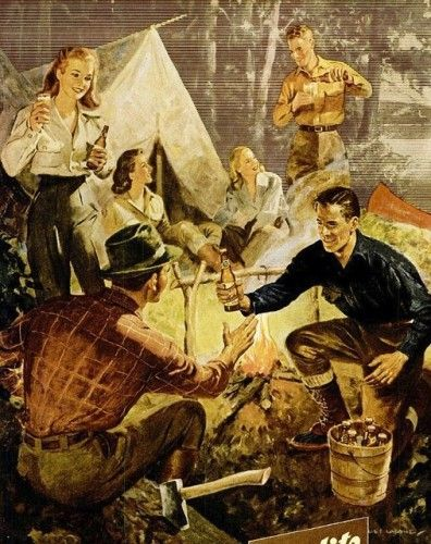 This ad sure knows how to make camping look like a great time to enjoy a cold bear. Note the men wearing durable pants and plaid shirts- a common outdoor look since the 1930s.