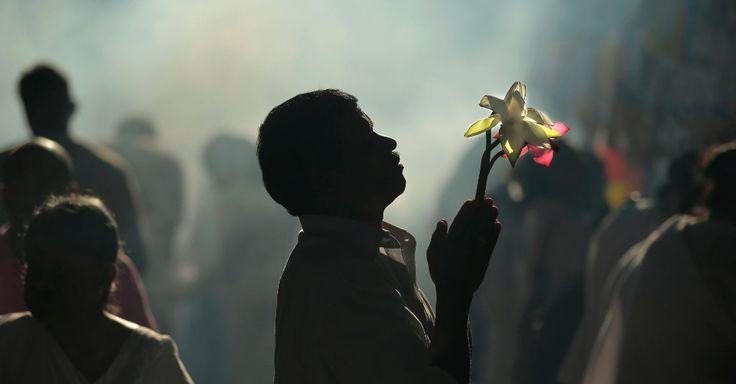 Um devoto budista reza oferecendo flores de Lotus em um templo em dia de lua cheia em Kelaniya, perto de  Colombo, no Sri Lanka