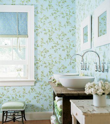 Verde menta para banheiro.Guest Bathroom, Thibaut Wallpapers, Blue Green, Dreams House, Frogs Wallpapers, Bathroom Sinks, Bathroom Ideas, Botanical Wallpapers, Bathroom Wallpapers